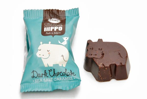 Hippos, Dark Chocolates, Fleur de Sel Caramel